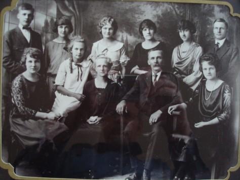 The family of Caroline and Frank Solomon- Front (l to r):  Naomi, Ruth, Caroline, Frank, Marion. Back (l to r): Paul, Florence, Martha, Margaret, Dorothy, John