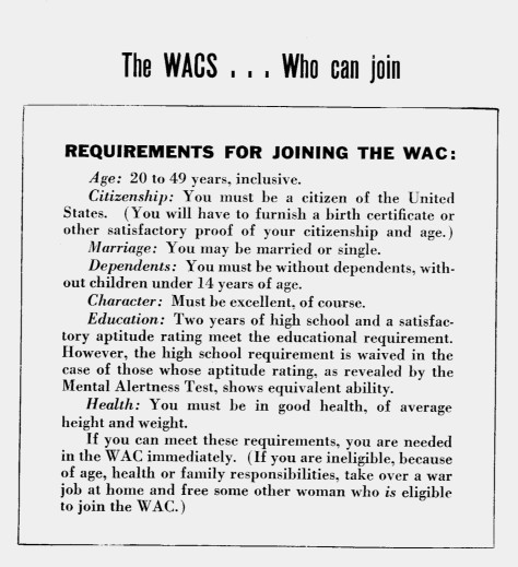 Requirements potential enlistees needed to meet to join WACs, 1943