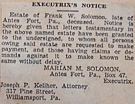 Executrix notice